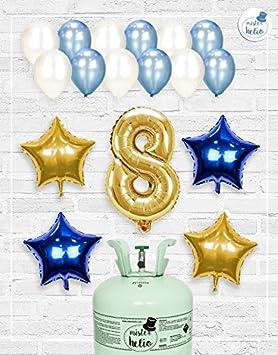 Bombona de Helio Mrhelio+Globos cumpleaños Niño números (Cumple 8 años niño)