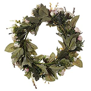 Adeeing Handmade Floral Artificial Simulation Peony Flowers Garland Wreath for Home Party Decor Pink 4