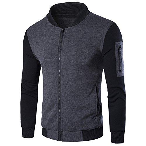 Diamondo Men Fashion Casual Jacket Warm Winter Baseball Coat Slim Outwear Overcoat (Gray, 2XL)