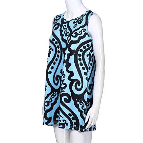 sin fiesta vestido Adeshop azul noche 8 trapecio elegante mangas falda vintage suelta cuello redondo elegante verano boho vestido informal mini de impresa qrgdrIO