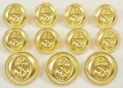 Navy Naval Brass - GOLD Premium METAL ~NAVY NAUTICA ANCHOR~ METAL BLAZER BUTTON SET ~ 11-Piece Set of Shank Style Fashion Buttons For Single Breasted Blazers, Sport Coats, Jackets & Uniforms ~ METALBLAZERBUTTONS.COM