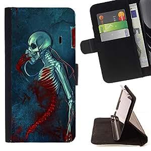 Momo Phone Case / Flip Funda de Cuero Case Cover - Muerte Sangre Grim azul cráneo Esqueleto - Sony Xperia M4 Aqua