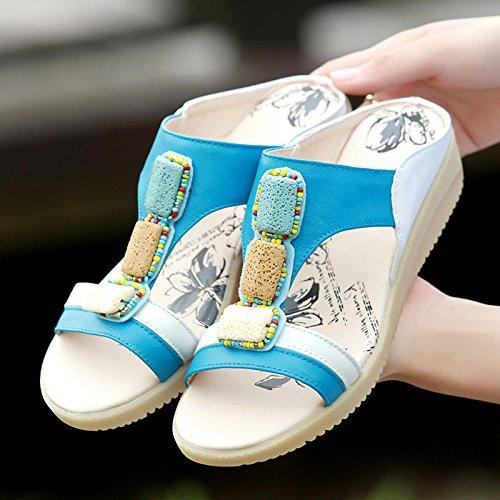 Qingchunhuangtang Piatto Sandali Sandali chiaro E Cool Fondo Con Blu Pantofole Dal rrAq0