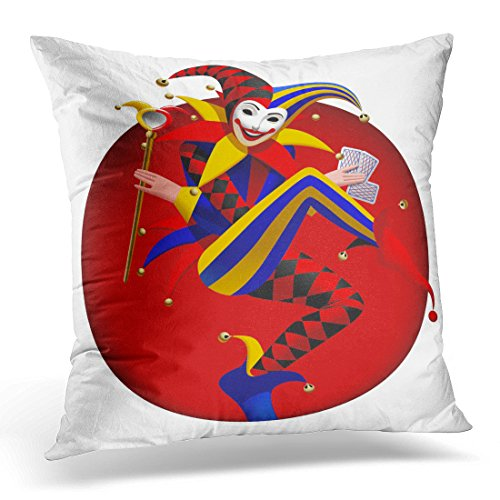 Breezat Throw Pillow Cover Blue Casino Joker with Playing and Mirror in Dark Red Round Three Dimensional Drawing Yellow Actor Decorative Pillow Case Home Decor Square 20x20 Inches (Cheap Passion Play Costumes)