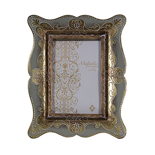Concepts 4X6 Blue Gray Antique Picture Frame With Gold Detailing