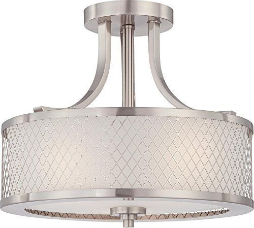 (Ship from USA) Brand New Nuvo 60/4692 Fusion Brushed Nickel Semi-Flush /ITEM - Brushed Nickel Fusion