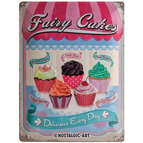 Nostalgic-Art Plaque de Décoration en Métal - Fairy Cakes, Delicious Every Day - 30 x 40 cm Nostalgic Art 23158