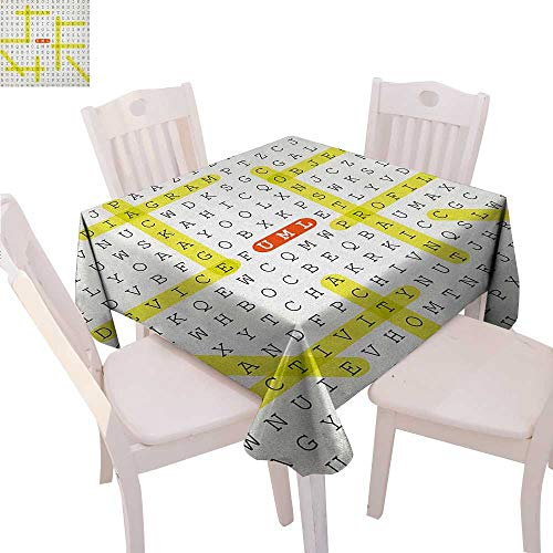 Word Search Puzzle Patterned Tablecloth Unified Modeling Language Word Puzzle with Highlighted Keywords Dust-Proof Tablecloth 54
