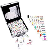 KAILE Number Dominoes Set, Color Double 12 Number Dominoes Mexican Train Dominoes Set Chicken Foot Dominoes Set with Aluminum Case, 91 Tiles
