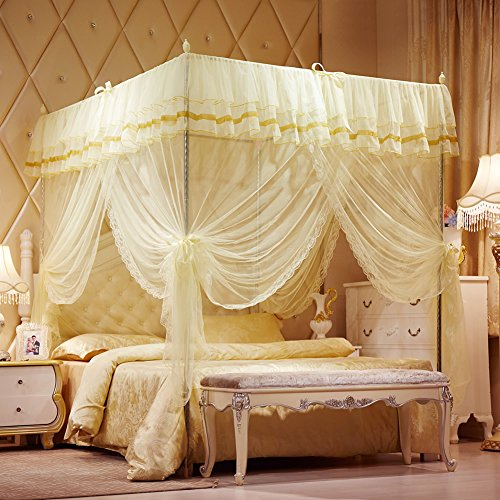 mosquito-net-bed-canopy-lace-luxury-4-corner-square-princess-fly-screen-indoor-outdoorbeige-californ