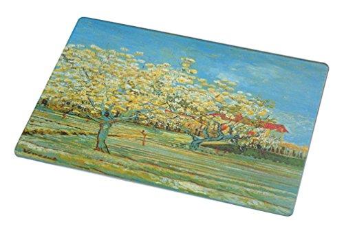 Rikki Knight RK-LGCB-1417 Van Gogh Art Orchard Glass Cutting Board, Large, White - Orchard Glass Cutting Board