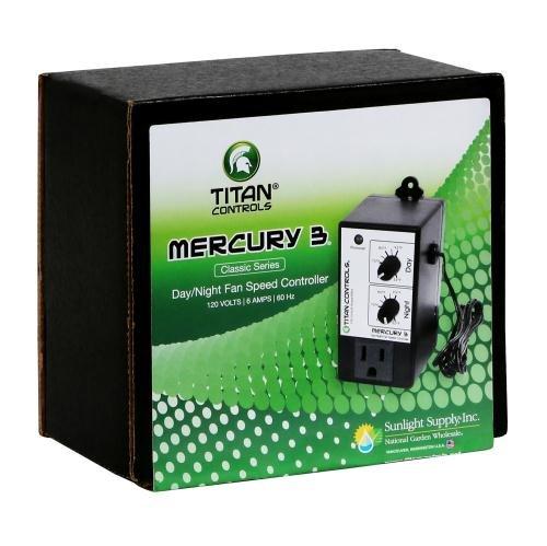 702755 Titan Controls Day//Night Fan Speed Controller 120V Mercury 3 Sunlight Supply Inc Single Outlet