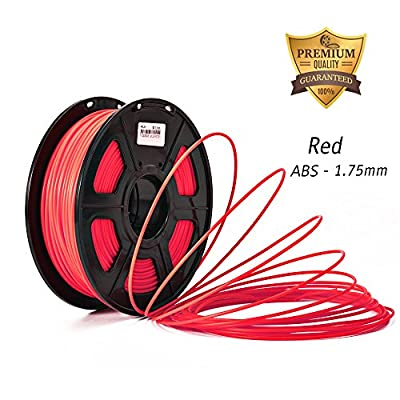 3D Filament, ABS RED 3D printer filament 1.75mm Dimensional Accuracy +/- 0.02 mm 2.2 LBS (1KG) Spool, Red
