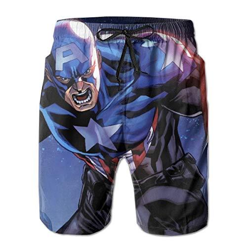 Captain America Mens Swim Trunks Summer Quick Dry Board Shorts Elastic Waist Swimwear Bathing Suit with Mesh Lining/Side Pockets White