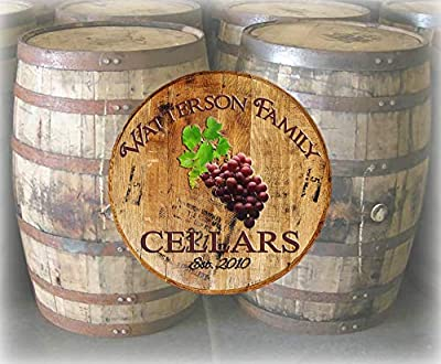 Rustic Home Decor Personalized Whiskey Barrel Lid Family Name Wine Cellar Bar Sign Man Cave