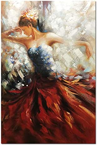 Boiee Art,32x48inch Hand Painted Red Derss Sexy Dancing Girl Vertical Oil Painting Abstract Canvas Wall Art Contemporary Artwork Figure Fine Art Wood Inside Framed Ready to Hang for Living Room