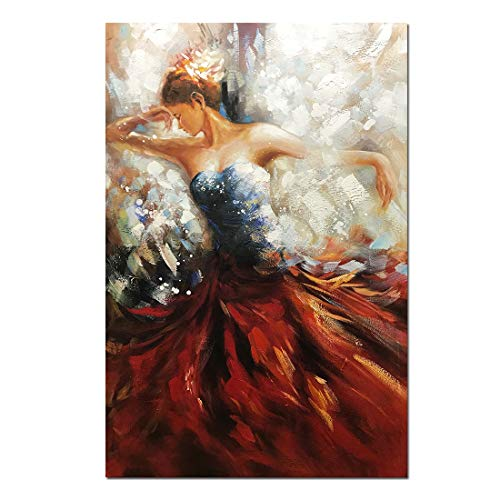 Boiee Art,32x48inch Hand Painted Red Derss Sexy Dancing Girl Vertical Oil Painting Abstract Canvas Wall Art Contemporary Artwork Figure Fine Art Wood Inside Framed Ready to Hang for Living Room Art Oil Painting Canvas