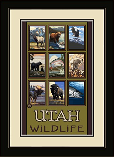 Northwest Art Mall Utah Wildlife Forest Collage Framed Wall Art by Paul A. Lanquist, 13 by - Utah Malls