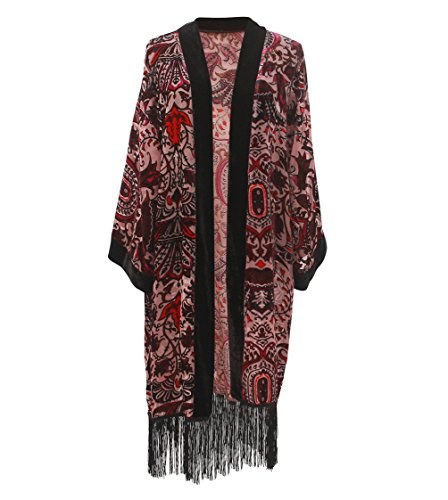 Women Velvet Burnout Kimono Cardigan - Big Floral Casual Coverup Outfit Cover Up with Fringe Maxi Dress Poncho Robe ()