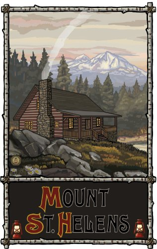 Northwest Art Mall Mount St. Helens Summer Mountain Cabin Unframed Poster Print by Paul