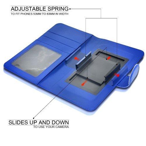 BLU Vivo 5BLU Vivo Air / Vivo Air LTE Titular de la tarjeta identificación de la carpeta de muelle ajustable cubierta de la caja (Azul) Plus de regalo libre, Protector de pantalla y un lápiz óptico, S