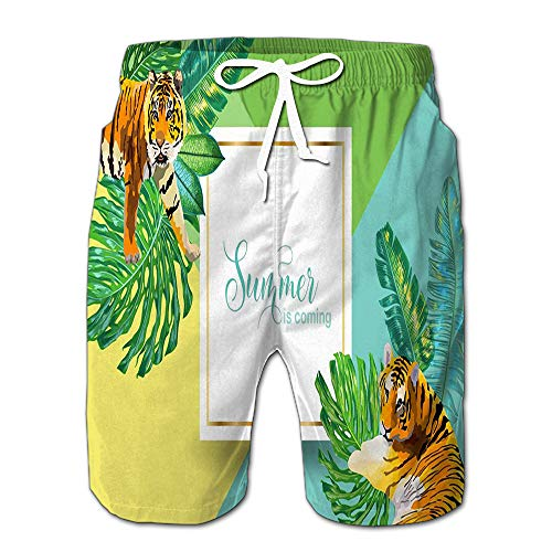 Summer Shorts Pants Hello Summer Tropical Palm Leaves Tigers Swim Trunks Stripe Casual Swim Shorts L