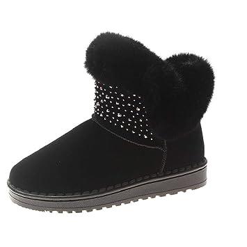 QUICKLYLY Botas De Nieve Mujer,Botines para Adulto,Zapatillas/Zapatos De Invierno Calzado De Punta Redonda Mantener Cálidas De Algodón Cortas De Martim: ...