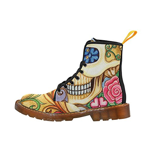 D-story Shoes Art Skull Day Of The Dead Lace Up Martin Boots Per Le Donne