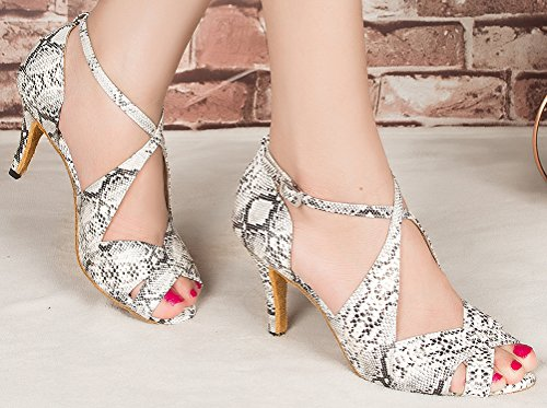 Abby Womens Latin Tango Cha-Cha Salsa Party Modern 3.3IN Heel Peep-toe PU Dance-shoes Silvery qtUlveBx