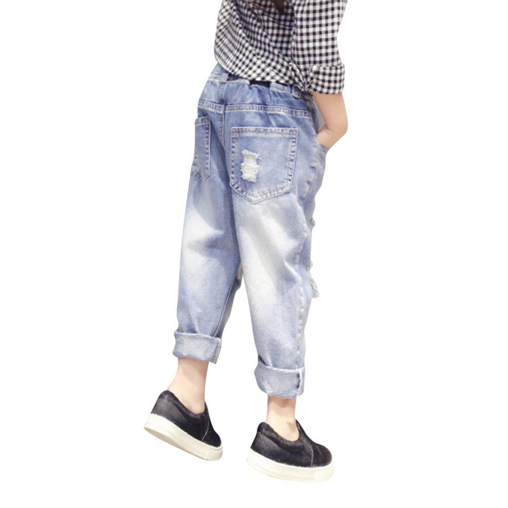 BOBORA Baby Girl Jeans Ripped Holes Elastic Waist Denim Trouser Pants 1-7Years BO-UK279