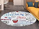 Movie Theater Round Rugs for Bedroom Various Hand Drawn Icons on a Notebook Page Style Backdrop Hollywood Fun Circle Rugs for Living Room Multicolor