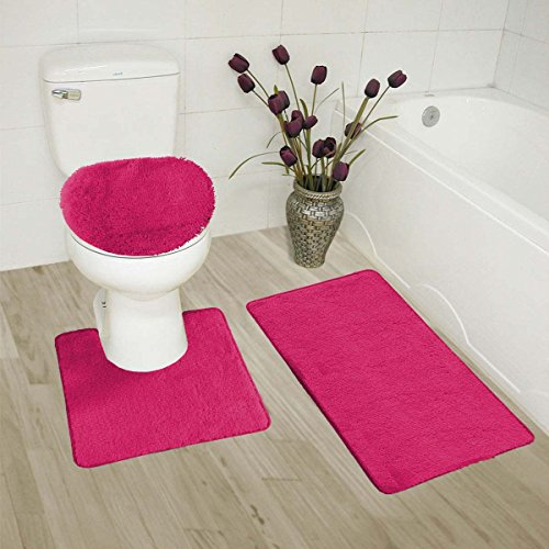 (Elegant Home 3 Piece Bathroom Rug Set Bath Rug, Contour Mat, Lid Cover Non-Slip with Rubber Backing Solid Color # 6 (Hot Pink))