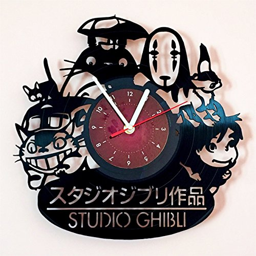 My STORE For YOU STUDIO GHIBLI - Vinyl Record Wall Clock - Kids Room wall decor - Gift ideas for children, baby, brother and sister, him and her -