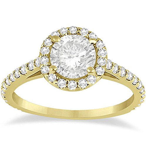 (Cathedral Halo Diamond Engagement Ring Setting For Women Bridal Band 18k Yellow Gold (0.64ct) )