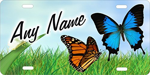 (ATD Butterfly Personalized Novelty Front License Plate Butterflies Decorative Custom Aluminum Car Tag)
