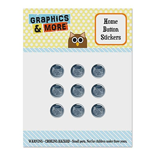 (Meow Cat Kitten Kitty Silhouette Set of 9 Puffy Bubble Home Button Stickers Fit Apple iPod Touch, iPad Air Mini, iPhone 5/5c/5s 6/6s 7/7s Plus)