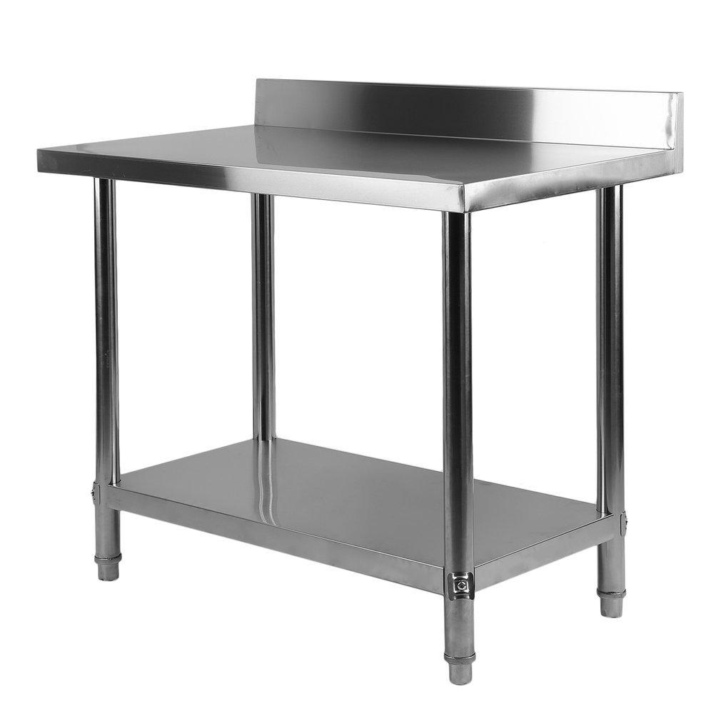 Sweepid Tavolo da Lavoro Professionale in Acciaio Inox, con ripiano e ripiano Inferiore