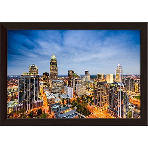 ArtzFolio Charlotte, North Carolina, USA Uptown City Skyline Canvas Painting Dark Brown Frame 11.3 x 8inch -