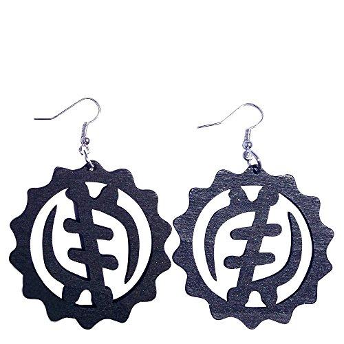 Gye Nyame Earrings / Natural Hair / Adinkra Symbol Earring / African Wood Jewelry (Black)