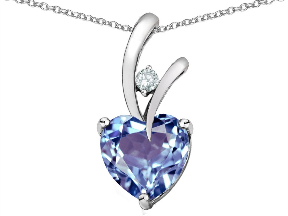 Star K Heart Shape 8mm Simulated Aquamarine Endless Love Pendant Necklace Sterling Silver by Star K