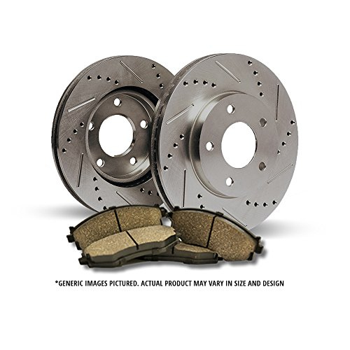 07 Gmc Sierra Cross - (Front Kit)2 Cross Drilled & Slotted Disc Brake Rotors + 4 Ceramic Pads(6lug)-Combo Brake Kit
