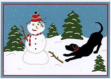Amazon lpg greetings snow pals black lab and snowman box of lpg greetings snow pals black lab and snowman box of 18 laura megroz dog christmas m4hsunfo