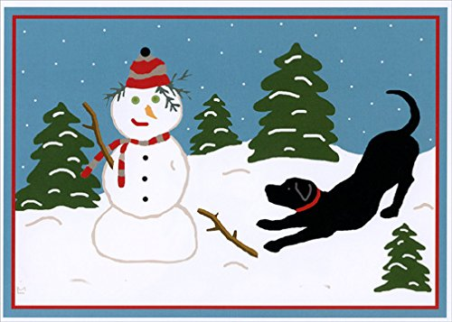 LPG Greetings Snow Pals Black Lab and Snowman: Box of 18 Laura Megroz Dog Christmas Cards