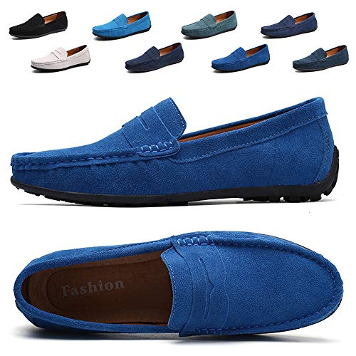 TSIODFO Men's Driving Penny Dress Loafers Suede Leather Driver Moccasins Slip On Shoes (A101light blue42)