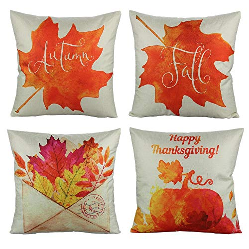 Thanksgiving Set Pumpkin - VAKADO Autumn Fall Leaves Throw Pillow Covers Cases Thanksgiving Pumpkin Festival Harvest Decorative Cushion Outdoor Home Decor for Couch Sofa 18x18 Set of 4