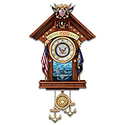United States Navy Wood Toned Cuckoo Clock Plays Anchors Aweigh by The Bradford Exchange