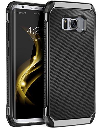 Galaxy S8 Case, Samsung Galaxy S8 Case, BENTOBEN Dual Layer Hybrid Hard PC Cover Soft TPU Bumper Carbon Fiber Texture Chrome Shockproof Protective Case for Samsung Galaxy S8 2017 (5.8 Inch), Black