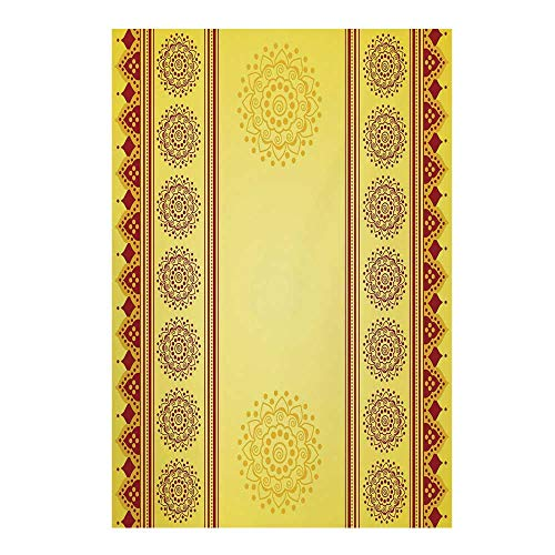 Yellow Mandala Stylish Backdrop,Traditional Indian Henna Style Banner Design Eastern Vertical Border Stripes for Photography,39