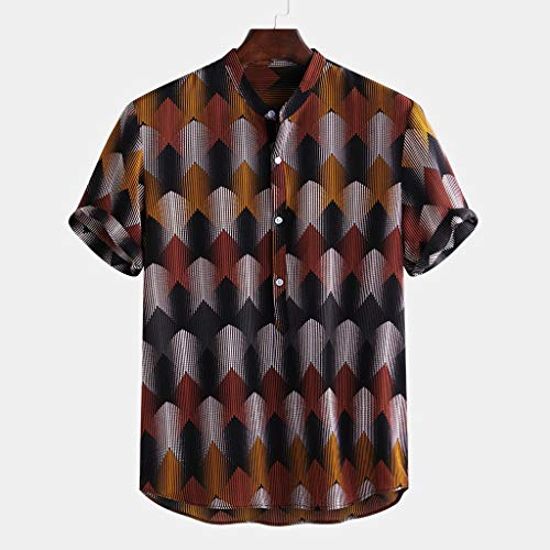 Funny Ethnic Printed Shirt Stand Collar Short Sleeve Loose Original Henley Shirts Button Down Shirt Size Small - 4XL Big Mens (XXL, Yellow) ()