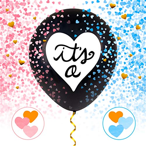 """(Gender Reveal Balloon Party Decorations - 2 Pack Jumbo Black Gender Reveal balloon with BlueΠnk Confetti Pack 